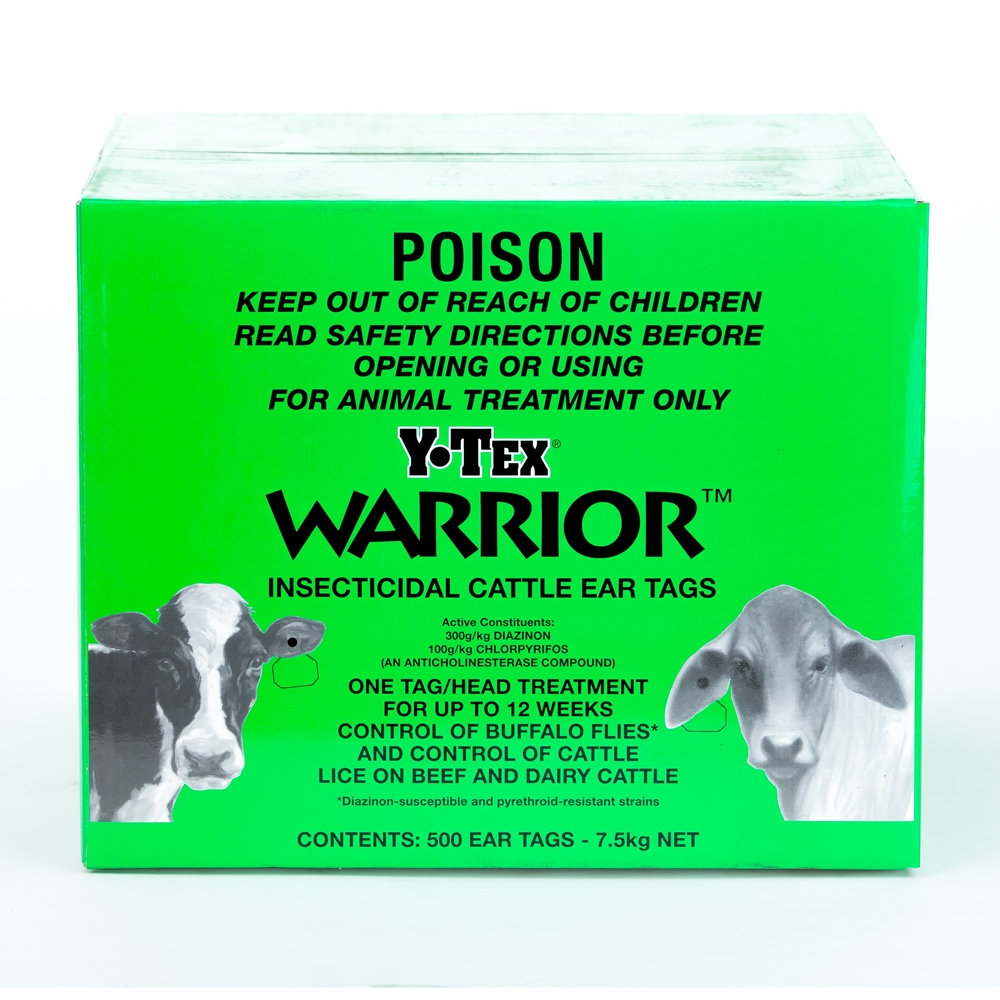 Y-Tex Warrior Insecticidal Cattle Ear Tags  (Chlorpyrifos & Diazinon)